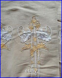 Rare paire de tentures anciennes art nouveau broderie applications pavots