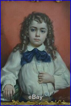 Tableau ancien Portrait Enfant Blond Cheveux bouclés Bernard Pégot art nouveau