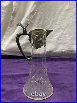 Wmf Belle Et Ancienne Aiguière Cristal Taille Monture Métal Argenté Art Nouveau